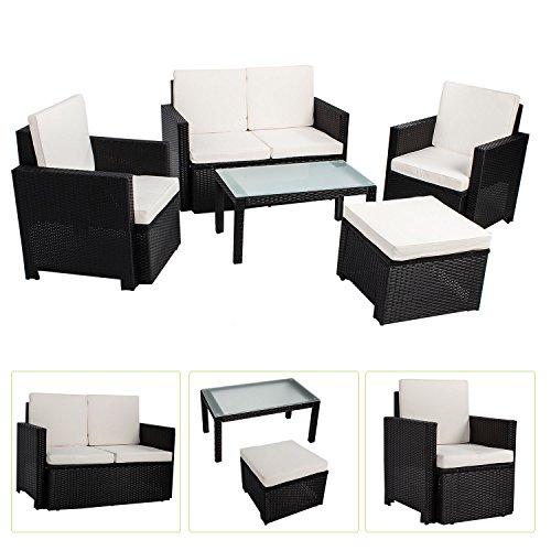 ArtLife Polyrattan Sitzgruppe/Lounge Samos (schwarz) für 4 Personen - 5-teiliges Gartenmöbel-Set inkl. 2er-Sofa, Sesseln, Hocker & Tisch