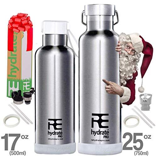 Rehydrate Pro 708,7 gram a doppia parete in acciaio INOX acqua vuoto bottiglia Flask - compatibile a Swell Yeti Hydro e Klean Kanteen per bevande calde o fredde + 'Flip N SIP' Berretto sportivo cromo
