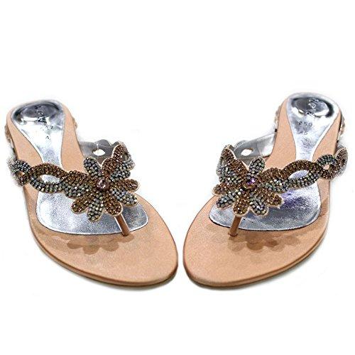 W & W femmes Mesdames Soirée un confort ultra léger Parti Diamante Sandales Chaussures Taille (Gemz) Pêche