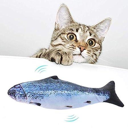 Elektrische Fische Katze,SIQDAK Elektrische Fisch katzenspielzeug, USB Elektrische Plüsch Fisch Kicker Katzenspielzeug mit Katzenminze für Katze und Kätzchen, Interaktive Katzenspielzeug zu Spielen