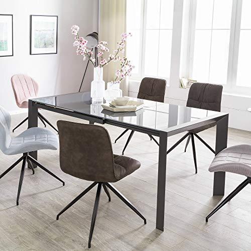 Ks-furniture noble - tavolo da pranzo allungabile da 122 a 182 cm, in metallo e vetro, colore: grigio scuro