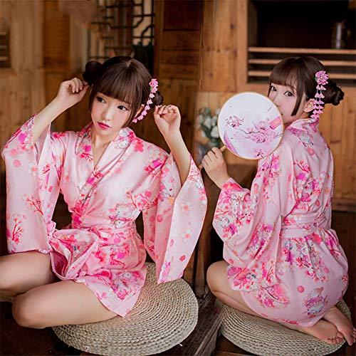 Blossom Kostüm Cherry - YouQDOLL Damen Sexy Erotik Unterwäsche Cherry Blossoms Cosplay Kostüm Kimono Pyjama Einheitsgröße Rosa