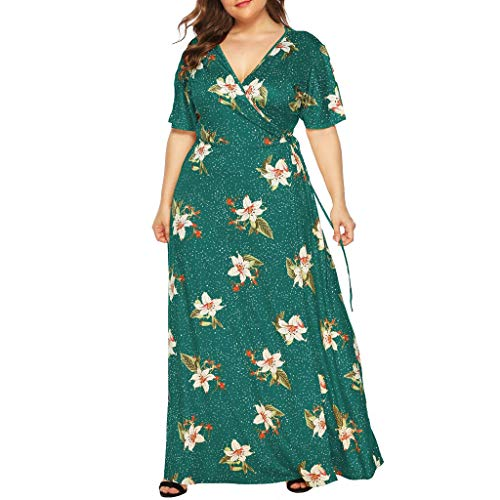 iYmitz Damen Übergröße Maxikleid Elegant V-Ausschnitt Kurzarm Kleider mit Blumen Pailletten Abend Party Netzkleid(X4-Grün,EU-52/CN-4XL) Grün Abend Kleid