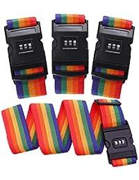 Correa de la Atadura del Equipaje del Viaje de la Maleta de la Correa de FOGAWA 4pcs Ajustable con Color simpatic de la Cerradura de combinación, 110g