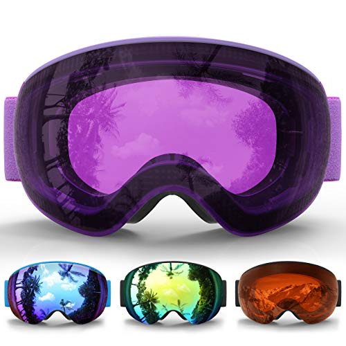 eDriveTech Skibrille, Snow Snowboard Brille Brillenträger Schneebrille Snowboardbrille - Für Skibrillen Jungen Mädchen Junior Alter 3 4 5 6 7 8 9 10 11 12 13 14 15 Jahre OTG UV Schutz Anti Fog -