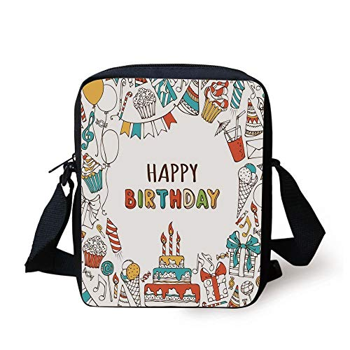 LULABE Birthday Decorations,Hand Drawn Birthday Sweets Party Blowouts Presents Music Note Garlands,Multicolor Print Kids Crossbody Messenger Bag Purse
