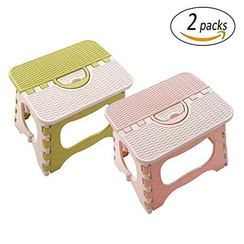 Hocker Stuhl Schritt (REKYO 2 Packungen Schritt Klapphocker für Kleinkinder kleinen tragbaren Schritt Klapphocker)