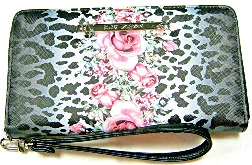 Betsey Johnson Zip Around Floral and Leopard Wristlet Wallet Black and Pink -