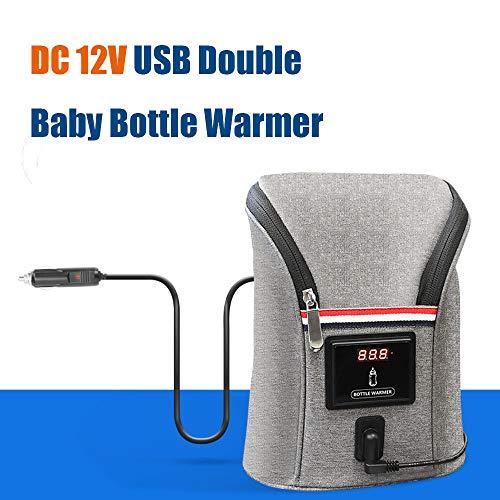 Konesky Flaschen Wärmer Abkühler, USB Heizung Wärmer Doppelt Baby Milchflasche Tote Isolationsbeutel Grosse Kapazität Auto im Freien beweglich für die Babypflege