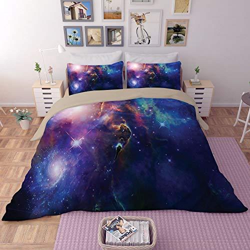Schesatz Mit DREI Raum Sternfluss Galaxie Sternenhimmel Planet Universum Gemusterter Bettbezug BettwäSchegeschenk Der Weihnachtskinder,8,220 * 260 ()