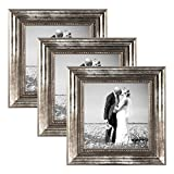 PHOTOLINI 3er Set Bilderrahmen 15x15 cm Silber Barock Antik Massivholz mit Glasscheibe und Zubehör/Fotorahmen / Barock-Rahmen
