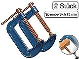 2 Stück Profi C-Schraubzwinge 75mm robust Stahl-Gewinde verkupfert gegen Schweißperlenbesatz