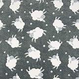 0,5m Micro-Fleece Schafe grau Meterware 100% Polyester Motivgröße Schaf ca. 10cm