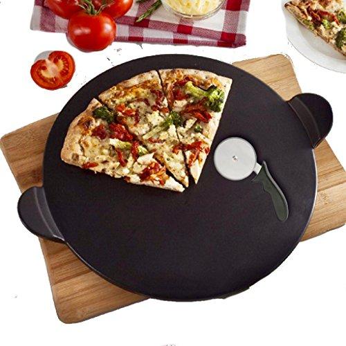 Pizzastein Set, Schwarz,Schamott Brotbackbackstein Pizza Stein Set für Backofen und Grill Rund 33 x 1,1 cm, Schamottstein, mit Pizzaschneider. Auch für Den Griller Geeignet, Schamott