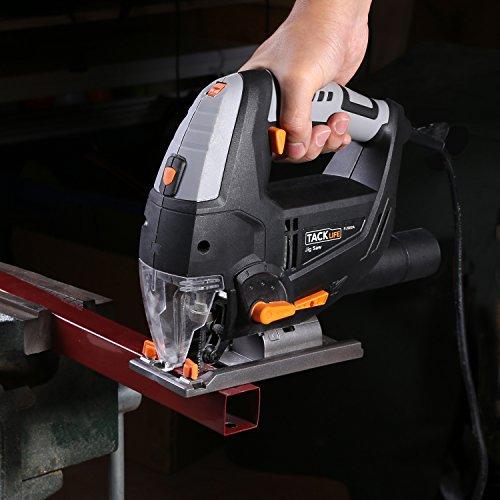 Stichsäge, Tacklife PJS02A Stichsäge mit Laser und Led-Lampe 800W,3000rpm, 100mm Schnitttiefen in Holz und 10mm in Metall, 22mm Hublänge,inkl.6 Sägeblatter - 8