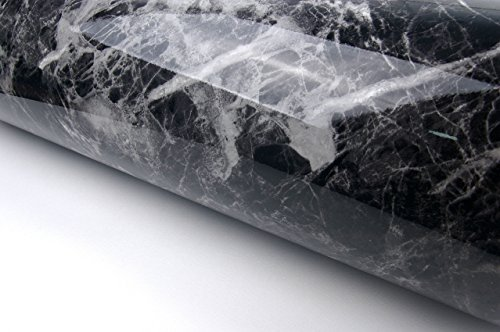 Black Grey Granite Look Marble Effect Film Vinyl Self Adhesive Peel-stick Counter Top (Peel-stick Vinyl)