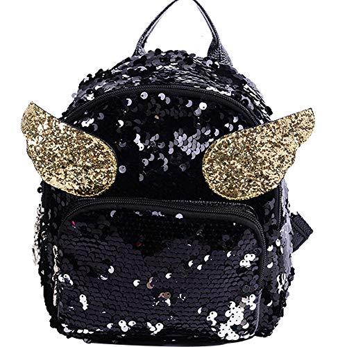 Frauen Mädchen Dazzling Pailletten Rucksack Beiläufige Schoolbag Daypack Mit Angel Wings Niedlichen Mini-Glitzer-Rucksäcke Reisetasche (Angel Wing Rucksack)