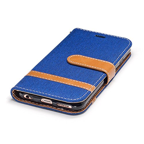 Nutbro iPhone 7 Plus Wallet Case, iPhone 7 Plus Case,[Kickstand Feature] [Denim Material] Wallet Flip Protective Case Cov with Card Slots + Side Pocket Magnetic Closureer BF-7-Plus-71