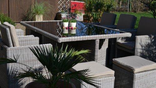 bomey Polyrattan Rattan Geflecht Garten Sitzgruppe Toscana XL in sand-grau Natur (Rundgeflecht 3mm) (Tisch 6 Sessel 3 Hocker) für 6 bis 9 Personen Bild 6*