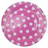 72 Pappteller Ø 23 cm - Bunt, gepunktet, rund, lebensmittelecht, beschichtet, je 12x blau, grün, gelb, pink, lila und rosa - 7