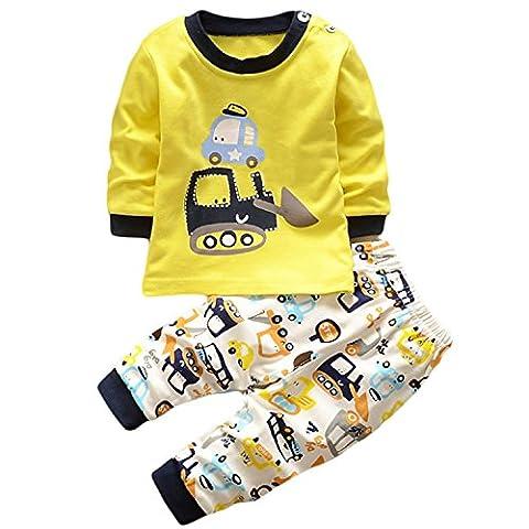 HENGSONG Fouilleur Impression Garçons Filles Coton Pyjama Bébé Four Seasons Sous-vêtements Ensembles Enfants (90cm)