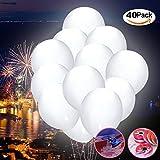 Afuqa Weiß LED Luftballons, 40 Stücke Leuchtende Ballons für Hochzeit Party/Geburtstag/Festival/Weihnachten Dekoration
