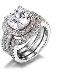 JewelryPalace 5.19ct Bague de Fiançailles Femme Alliance Mariage Anniversaire 3 Anneaux en Argent Sterling 925 en Zircon Cubiuqe de Synthèse CZ