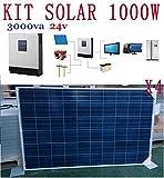 Kit Solar 1000w hora 5000w dia 24v Fotovoltaica 4 paneles 250w Inversor 3kva(2400w) Regulador 50a...