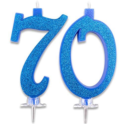 Velas Maxi de 70 años para Tarta de Fiesta de cumpleaños 70. Decoraciones con Velas de felicitación. Ideas para Fiestas temáticas. Altura 13 cm, Color Azul Brillante