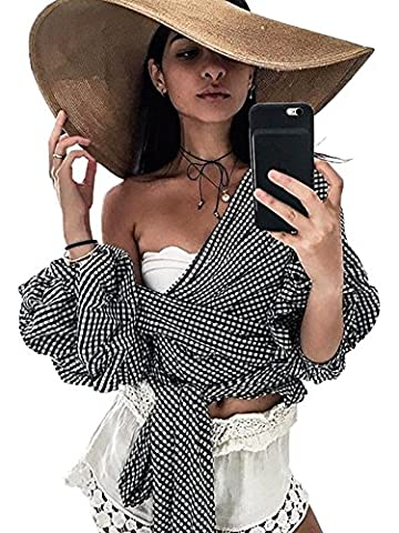 Simplee Apparel 3/4 Sleeve V Neck Wrap Drop Off Shoulder Tiered Bell Sleeve Blouse Waist Tie Ruffle Shirt Crop Top