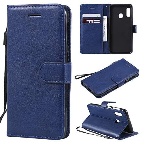 Artfeel Flip Brieftasche Hülle für Samsung Galaxy A20E,Premium PU Leder Handyhülle mit Kartenhalter,Retro Bookstyle Stand Abdeckung mit Magnetverschluss Handschlaufe-Blau -