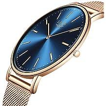 LIGE Hombres Mujeres Unisex Reloje Moda Ocio Simple De Cuarzo Analógico Impermeable Reloje Rosa Dorado Azul