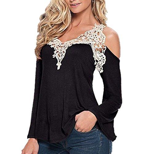 Damen Sommer Crochet Spitzenbluse Schulterfrei Pullover Batwing Tops t shirt damen Lose Langarm-Shirt Top Schwarz