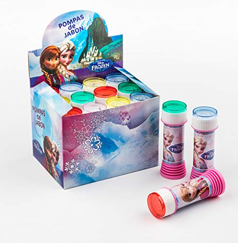 d6b641afe3 SUPERBOOM - Caja Pomperos de Burbujas de Jabón de Frozen - 12 Unidades de  60 ml