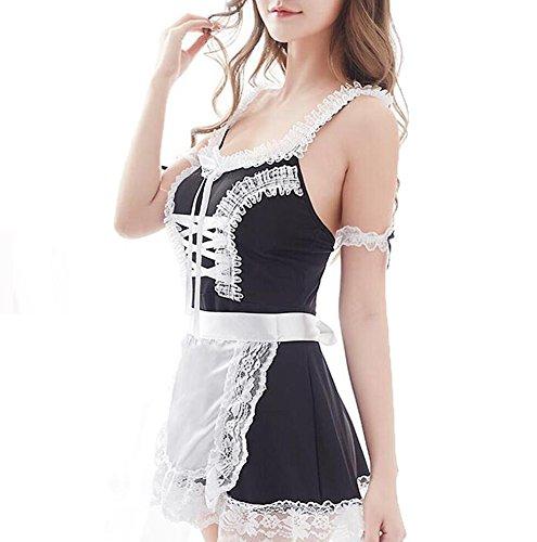 CJC Sexy Unterwäsche Schwarz Französisch Schürze Maid Diener Lolita Kostüm Kleid Uniform (Farbe : Black, Größe : One ()