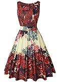 OWIN Women's Vintage 1950's Floral Spring Garden Picnic Dress Party Cocktail Dress (XXL, Mild Red)