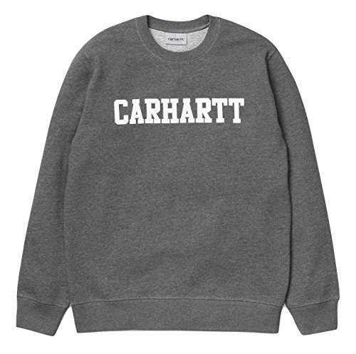 Carhartt Crew Sweatshirt (Carhartt Herren College Sweat Kapuzenpullover, Grau (Dark Grey Heather/White), L)