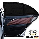 QUALIDE - Sonnenschutz Auto / Autoscheibenabdeckung (2er Set) | Sonnenschutz Auto für Beifahrer, Babys, Kinder und Haustiere | Universelle Größe für die hinteren Seitenfenster | Schwarz (Abgerundeten/Größe S)
