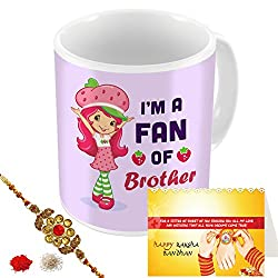 Aart Store Im Fan Of Brother Multi Colours Printed Mug, Greeting Card, Rakhi, Roli, Chawal Gift Pack for Brothers/Sisters to Enjoy Raksha Bandhan Festival.