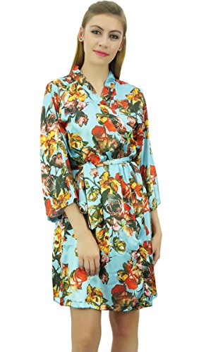 Bimba Womens Floral Sky Blue Satin Brautjungfer Hochzeit Nachtwäsche Coverup Robe-54 (Robe Floral Blue)