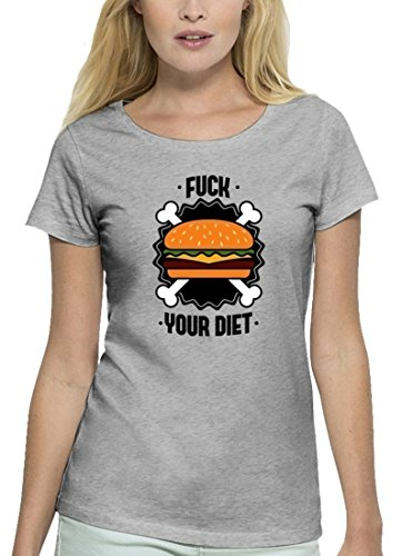 Grillen Premium Damen T-Shirt aus Bio Baumwolle mit Fuck Your Diet Stanley Stella Heather Grey