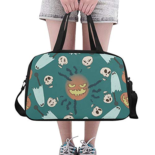 glückliches Halloween Schädel großes Turnhallen Totes Eignung Handtaschen Reise Duffel Taschen mit Schultergurt Schuhbeutel für Übung Gepäck für Mädchen im Freien ()