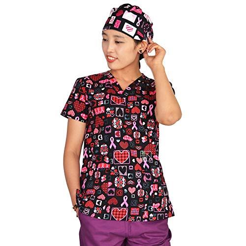 Medizinische Kleidung Baumwolle Krankenschwester Arzt Arbeit Einheitliche Druck V-Ausschnitt Atmungsaktive Weibliche Medizinische Uniform, M ()