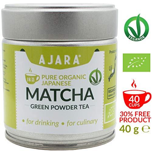 tè verde matcha giapponese biologico in polvere. certificato bio e veganok - da bere e da impiegare in cucina, energetico e antiossidante. prodotto ad uji(kyoto) giappone -40g- ajara