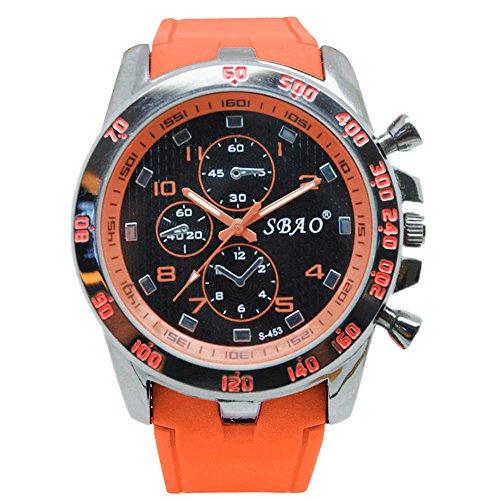 DAY.LIN Herrenuhr Armbanduhr Herren Sportuhr Rostfreier Stahl Luxus Sport analoger Quarz Modern Männer Mode Armbanduhr Shuangbao Silikon Sportuhr (D)