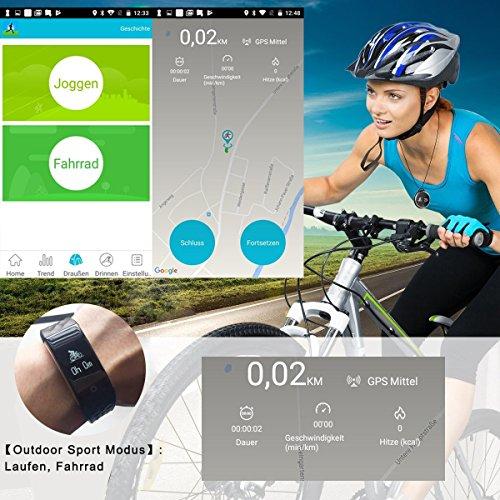 ROGUCI 0.96 Zoll OLED Bluetooth intelligenter Verfolger/Tracker, IP67 Wasserdichtes Tragbares Armband Wristband, Fitness Tätigkeits-intelligente Spurhaltung Armbinde mit Puls-Monitor, mehrfacher Bewegungs-Modus Fahrrad-Reiten , kompatibel mit androiden Smartphones 4.3 IOS iphones 7.0 BT 4.0 - 3