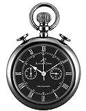 KS Reloj De Bolsillo Hombre con Cadena Romanos Cronógrafo Cuarzo analógico Caja de Regalo Negro KSP093