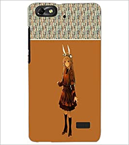 PrintDhaba Horn Girl D-2479 Back Case Cover for HUAWEI HONOR 4C (Multi-Coloured)