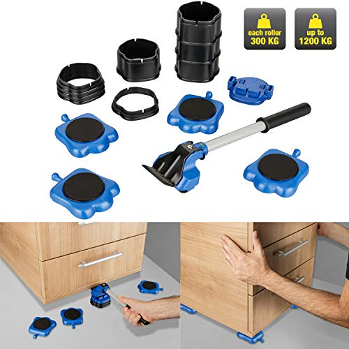 KINZO Möbel-Gleitroller 13 tlg. Set |Stabile Transporthilfe zum sicheren Transportieren von Möbeln, Waschmaschinen etc, Belastbarkeit 300kg je Rolle, Umzugshilfe, Transportroller