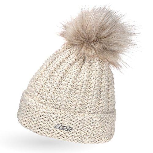 Neverless dick gefütterterte Damen Strickmütze mit Fell-Bommel, Winter-Mütze,...